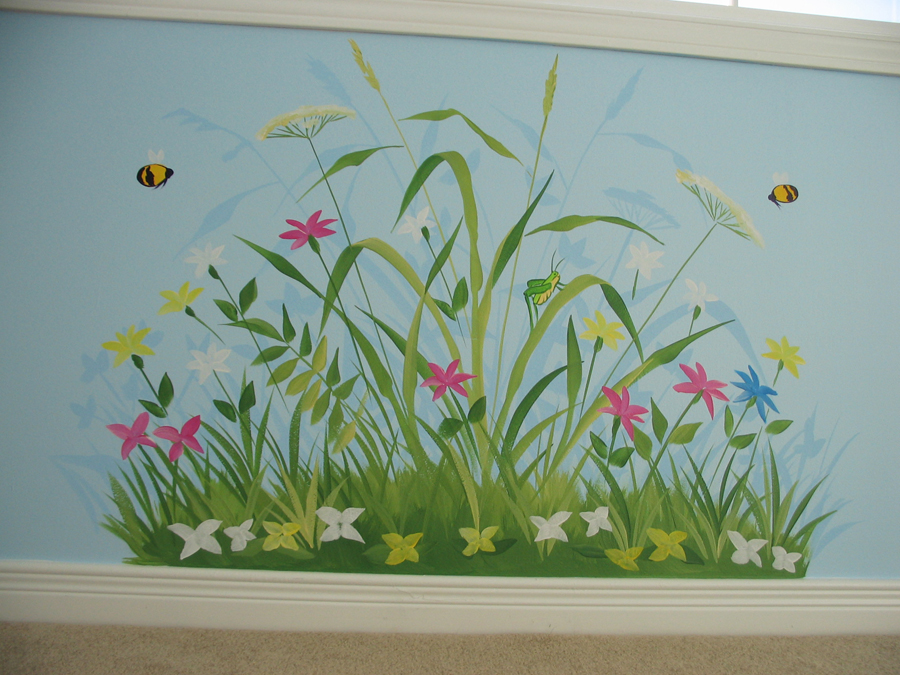 Flower and bug themes mural magic for Mural flower