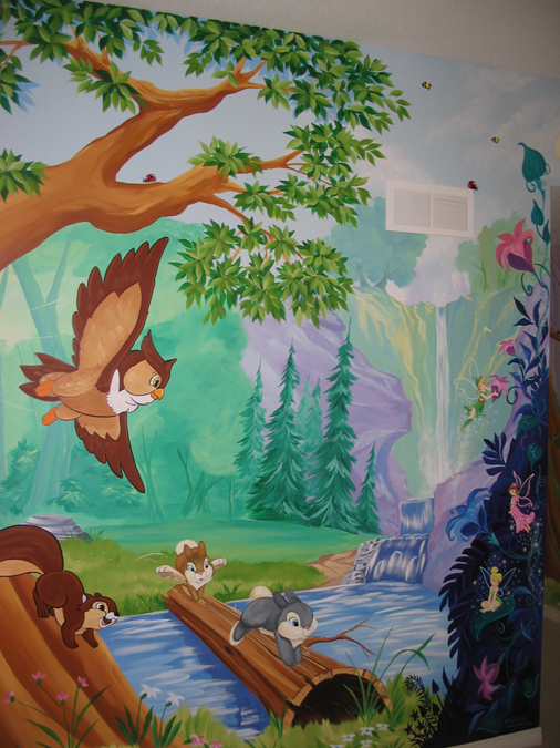 Murals forest mural wallpaper flower childrens for Enchanted forest mural