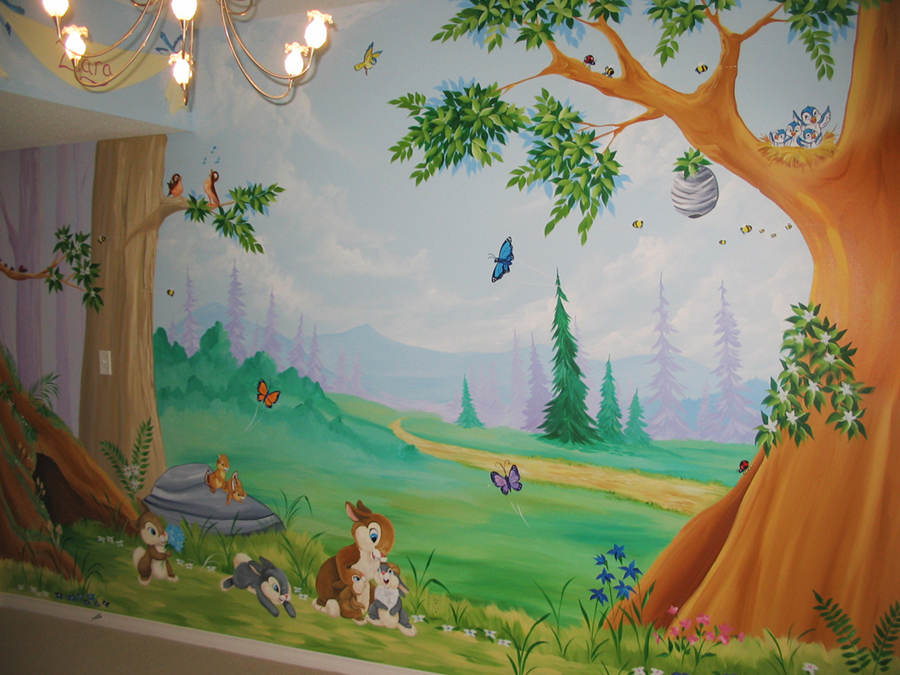 Tree and forest themes mural magic for Enchanted forest mural wallpaper