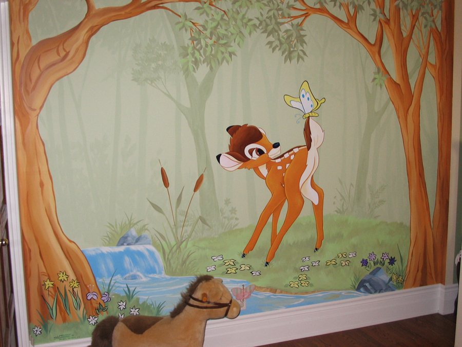 fun cartoon characters mural magic