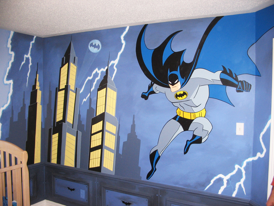 Super hero themes mural magic for Batman wall mural decal