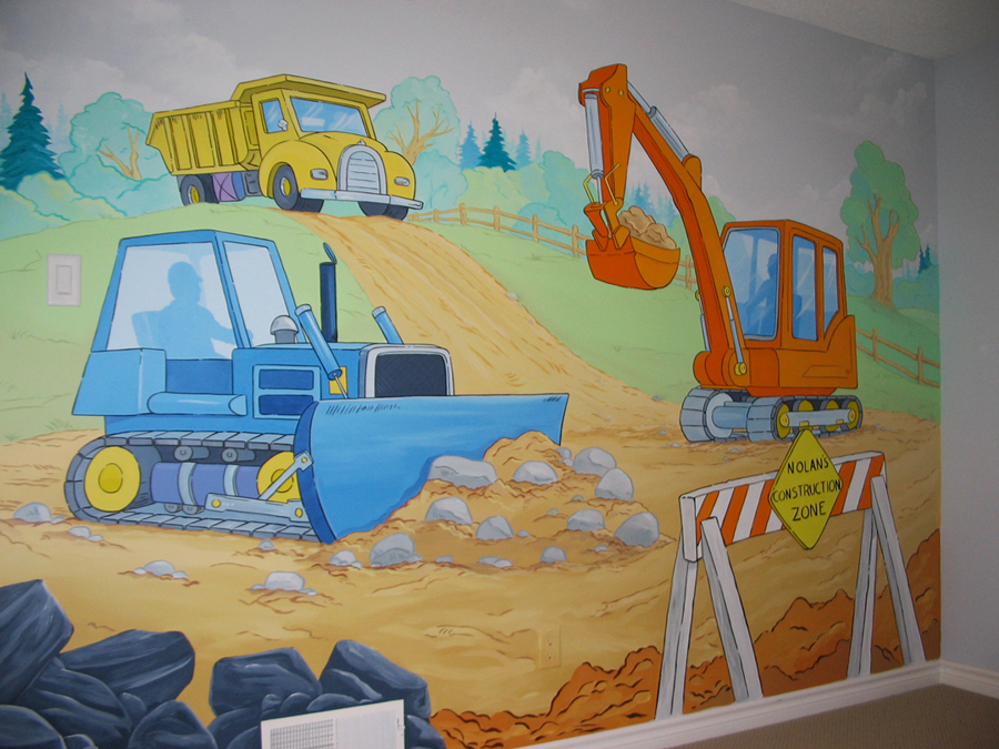 Construction themed murals mural magic for Construction mural