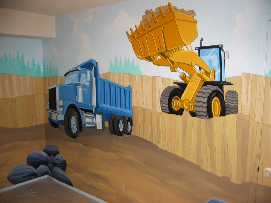construction themed murals mural magic