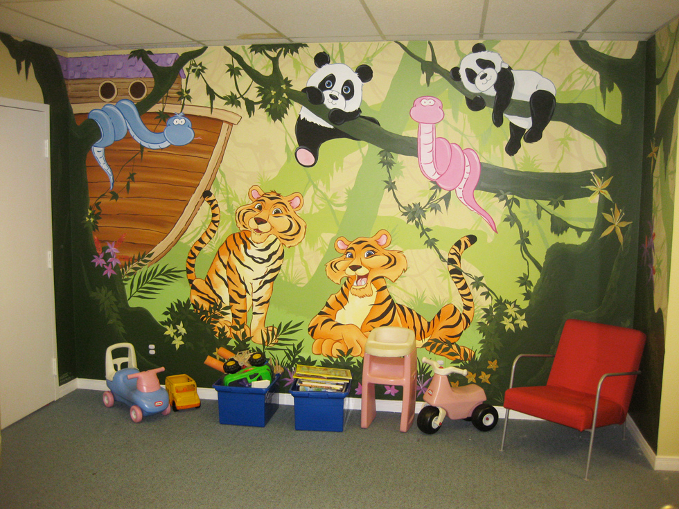 day care murals mural magic surfaces with paint nursery amp daycare murals
