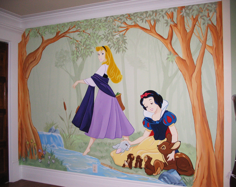 Princess themed murals mural magic for Disney princess mural asda