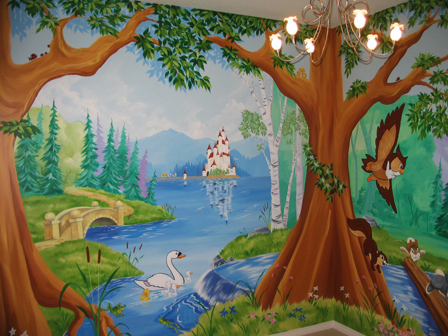 Magical fairy forest murals gallery for Enchanted forest mural wallpaper