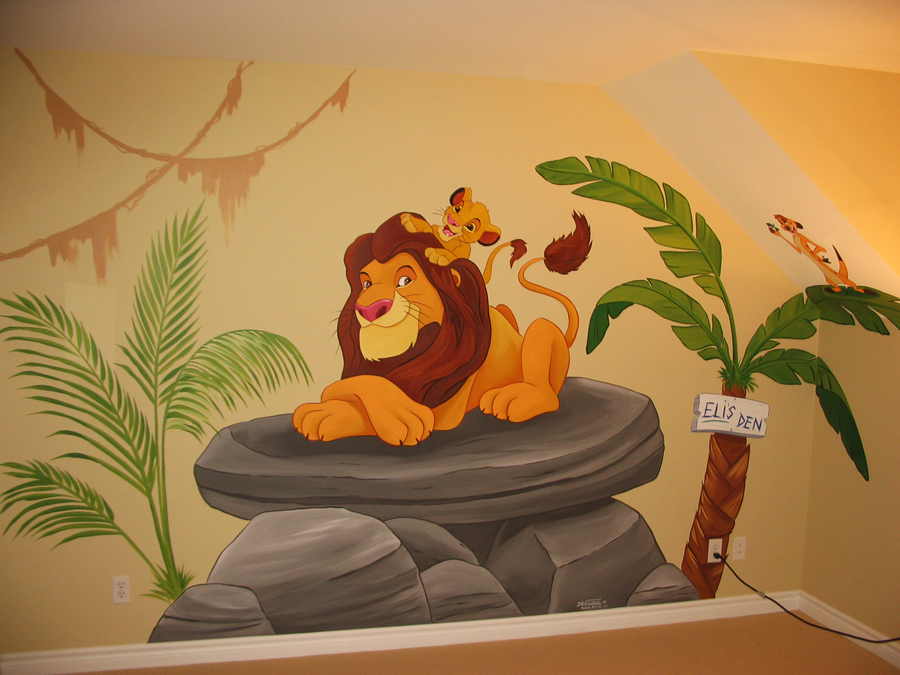 Jungle themed murals mural magic for Baby room jungle mural