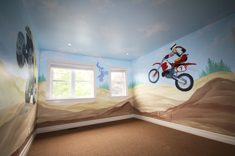 truck and motorcycle themed murals mural magic