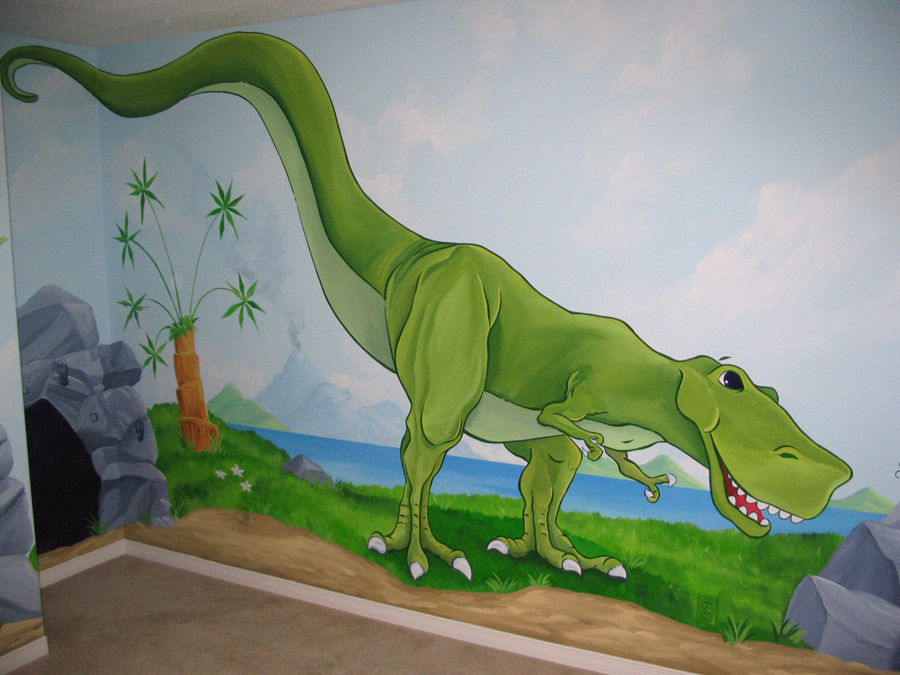 Dinosaur themed murals mural magic for Dinosaur mural ideas
